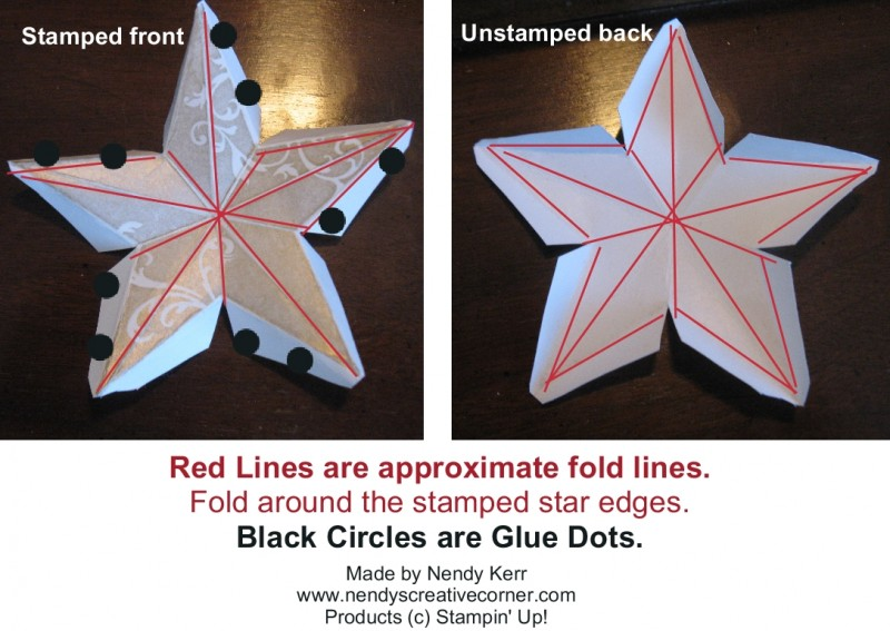 3D Christmas Star - Fold Lines and Glue Dot Placement