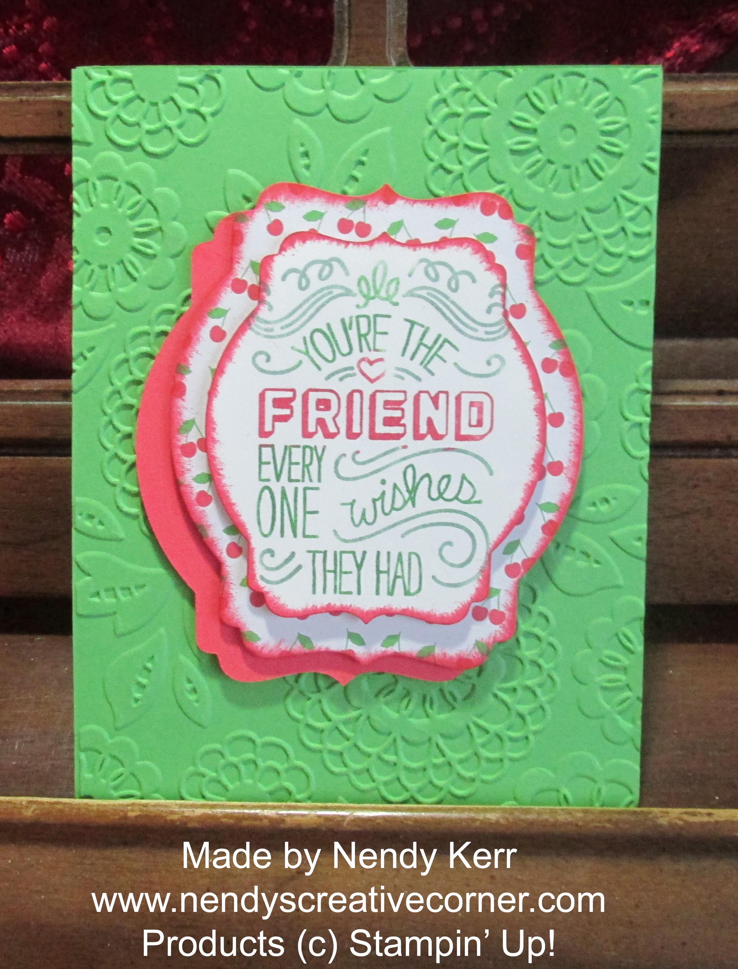 Best Friend Card in Cucumber Crush and Wonderful Watermelon