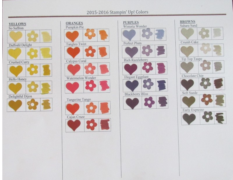 2015-2016 Stampin' Up! Colors -Yellows, Oranges, Purples, Browns
