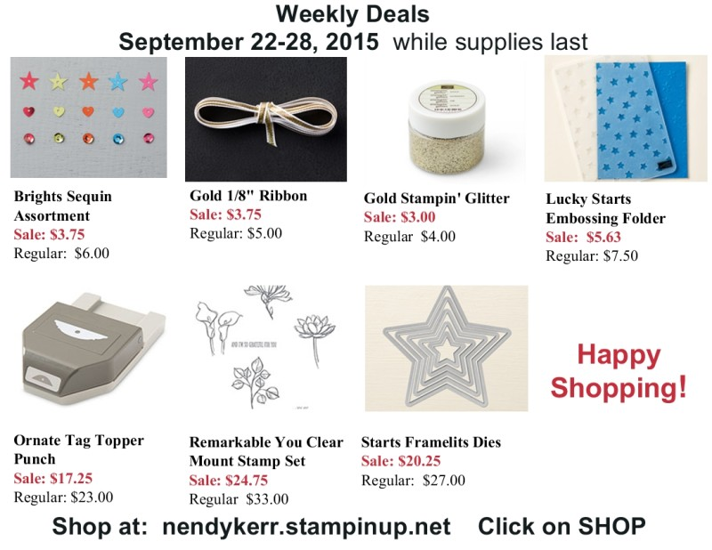 Stampin' Up! September 22-28, 2015 Sale