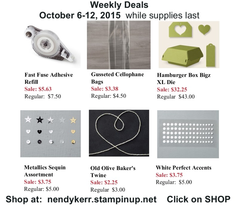 Stampin' Up! Sale October 6-12, 2015