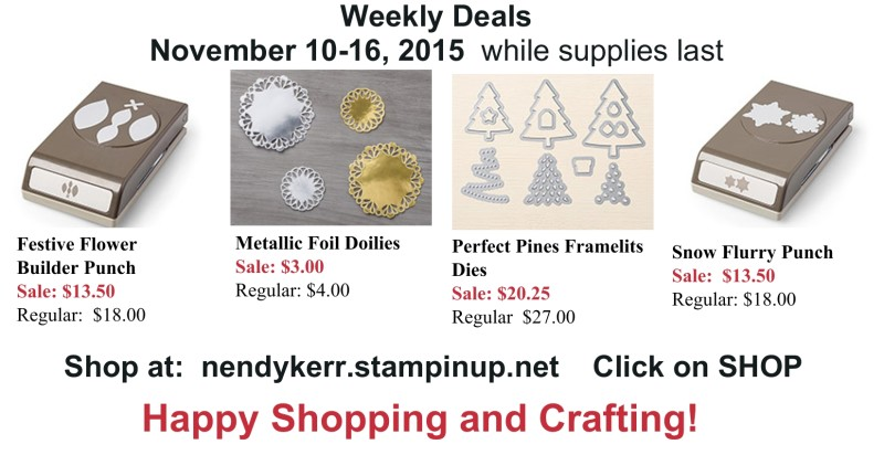 Stampin' Up! Sale for Nove 9-16, 2015