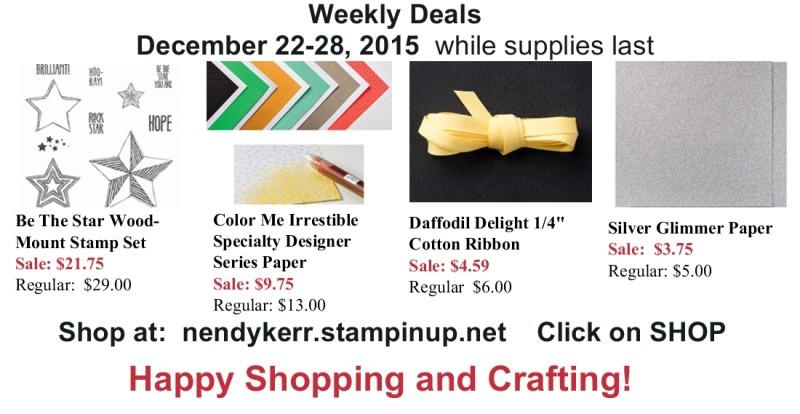 Stampin' Up! Weekly Deals December 22-28, 2015