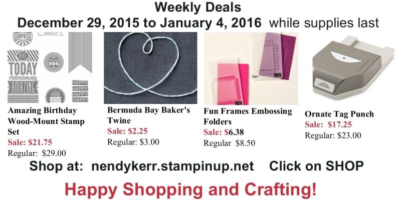 Stampin' Up! Weekly Deals Dec 29, 2015-Jan 4, 2016