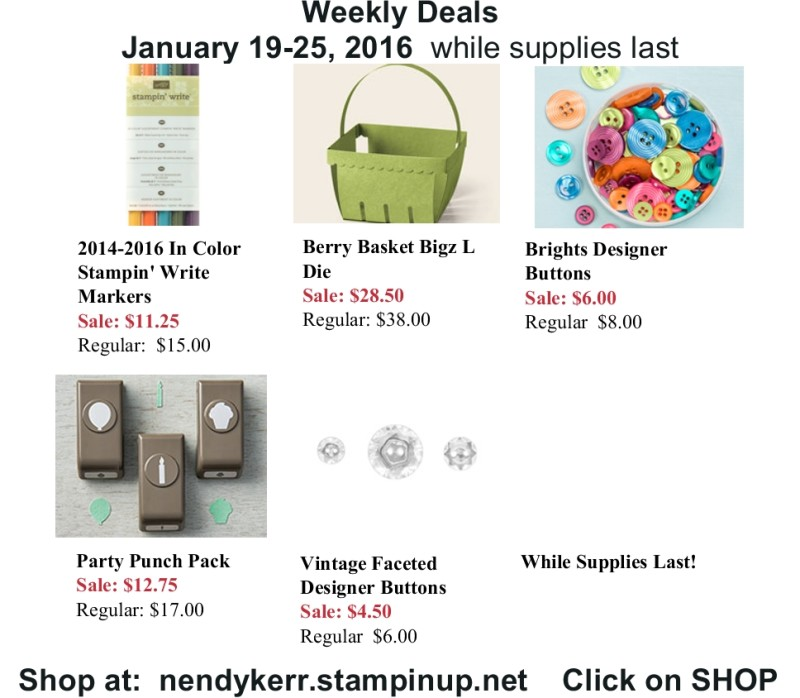 Stampin' Up! Weekly Deals for January 19-25, 2016