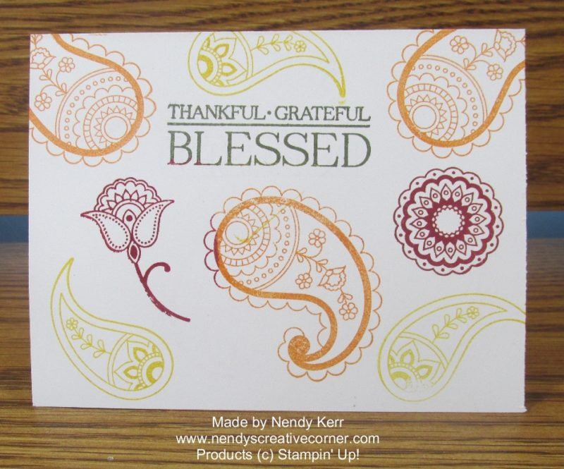 Thankful Grateful Blessed Paisley Card