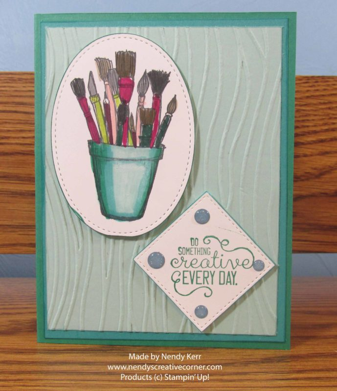 Crafting Paint Brushes in a Cup card