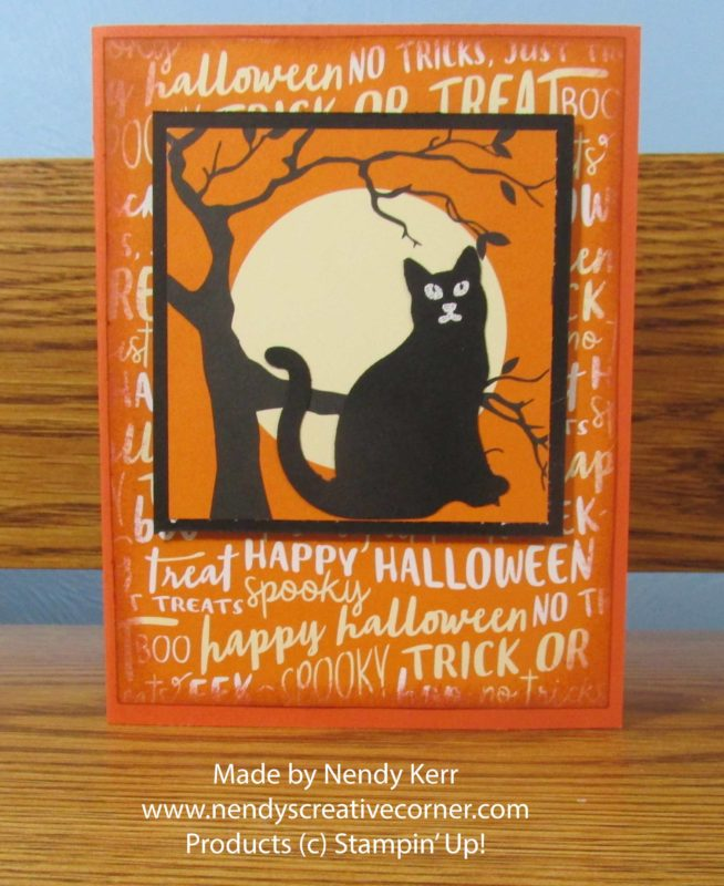 Spooky Cat and Moon Card