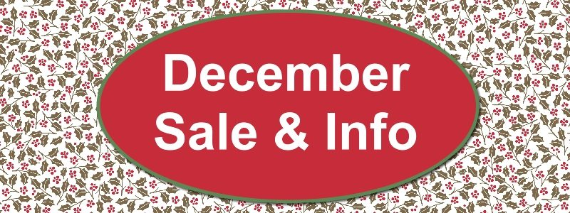 December 2017 Sale & Shipping Info
