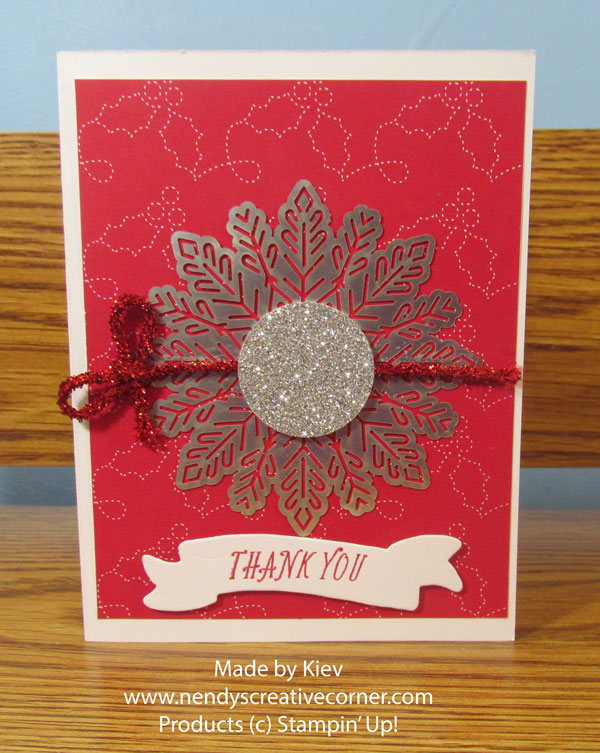 Red Snowflake Banner Thank You Card