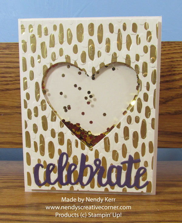 Gold Heart Shaker Card Birthday