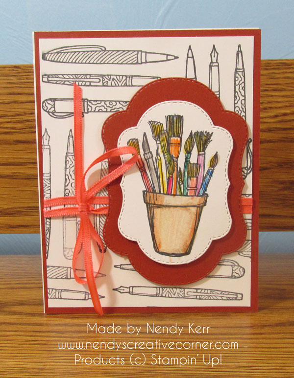 Paintbrushes and pens card